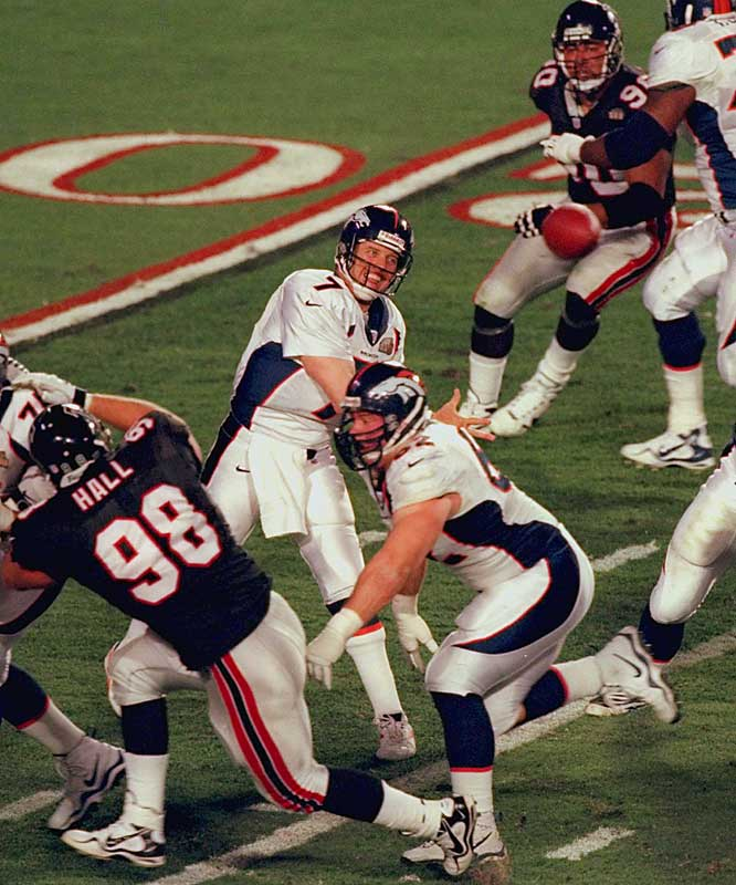 On his way to becoming the only QB to retire immediately after winning the Super Bowl, John Elway passed for 336 yards and one TD (he also ran for a score) and collected MVP honors. His Broncos sprinted to a 31-6 lead en route to giving the franchise back-to-back world championships.