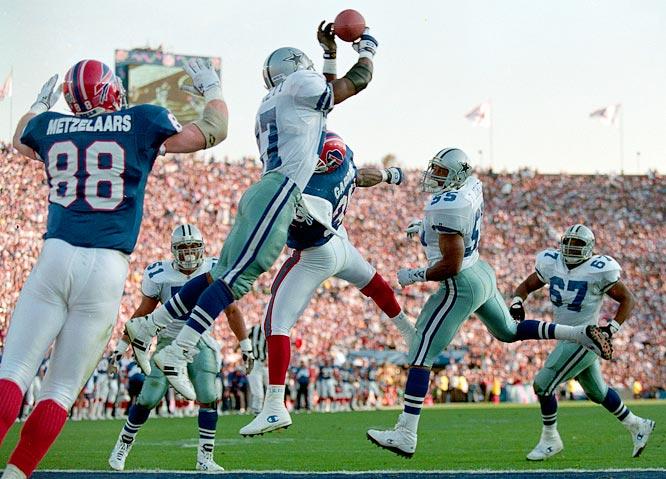 The Dallas Cowboys'  Thomas Everett leaping for an interception against the  Buffalo Bills in Super Bowl XXVII.