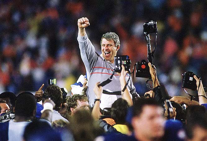 Parcells celebrates after defeating the Broncos 39-20 in Super Bowl XXI. The Broncos had a 10-9 lead at the half, but the G-Men scored 17 unanswered points and went on to give Parcells his first Super Bowl.