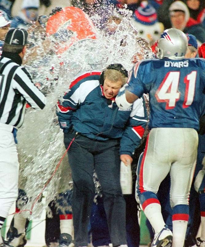 Parcells is doused with Gatorade after leading the Patriots to a 20-6 victory over Jacksonville in the 1997 AFC Championship game.