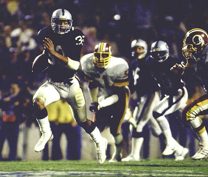 Allen ran for a then-Super Bowl record 191 yards on 20 carries, including a brilliant 74-yard run in which he reversed the field on the Redskins and left 11 defenders in the dust.