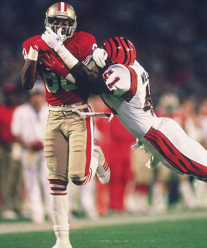 Rice had 11 catches, a Super Bowl record 215 yards, and caught the game-winning touchdown in the 49ers' 20-16 win over the Bengals.