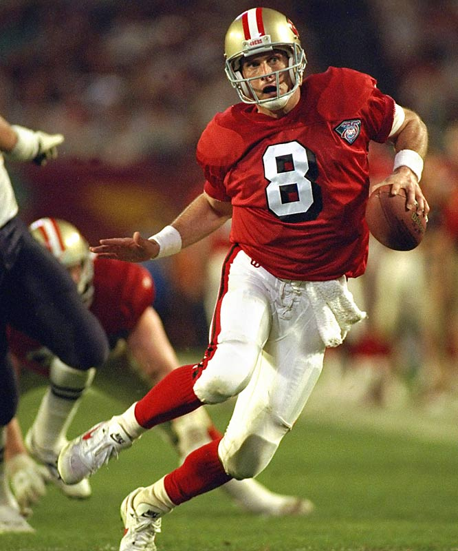 Young threw a Super Bowl-record six touchdowns to help the 49ers beat the Chargers 49-26 and earn their fifth Super Bowl ring.