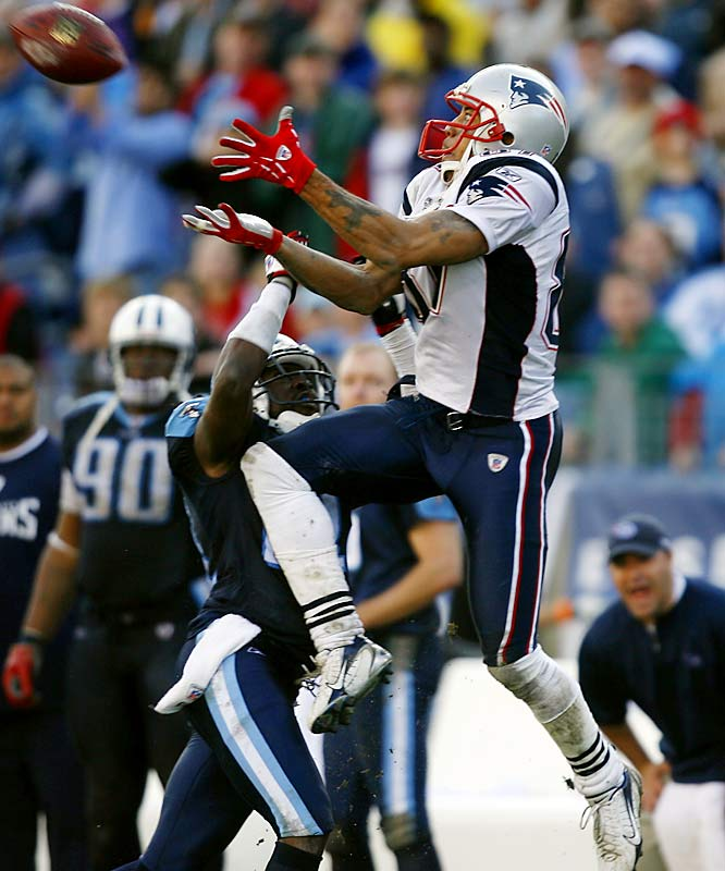 Wideout Reche Caldwell catches a 62-yard touchdown pass from Tom Brady in the third quarter.  Caldwell had four receptions for 134 yards as New England ended Tennessee's six-game winning streak and magical playoff run.