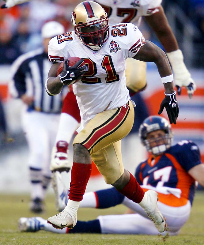 Frank Gore ran for 153 yards and had 32 receiving yards in the Niners' win against Denver, breaking Garrison Hearst's single-season franchise records for rushing and total yards.