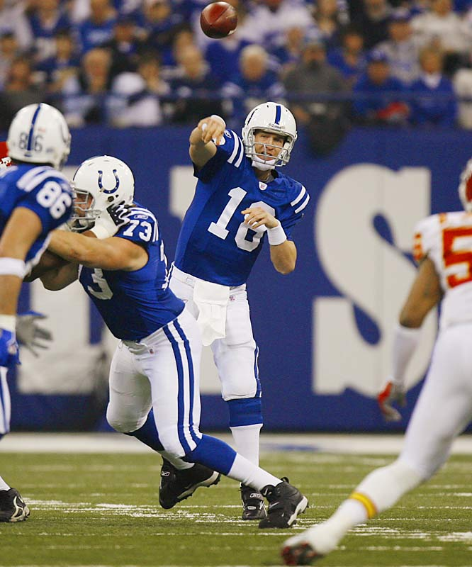 Although Peyton Manning completed 30-of-38 passes for 268 yards and a touchdown, his three interceptions might have proved costly had the defense not come to the rescue.