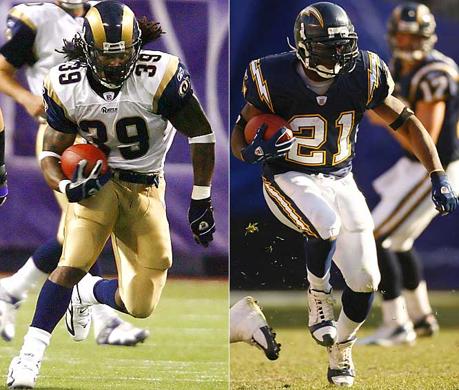 2,300 ... Stephen Jackson of the Rams and LaDainian Tomlinson of the Chargers both surpassed 2,300 yards of total offense, the first time in NFL history two players have gone over 2,300 total yards in a season. Jackson's 2,334 total yards from scrimmage are the most ever by a player who had never before had a season with 2,000 yards. The most previously was Marcus Allen's 2,314 for the Raiders in 1985.