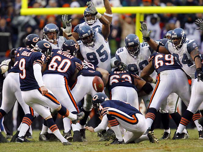 49 ... Robbie Gould's 49-yard field goal in the Bears' win over Seattle was the second-longest postseason field goal in overtime and the longest outdoors. In 1989, Gary Anderson made a 50-yarder in the Steelers' wild-card win at the Astrodome. The longest previous outdoor postseason field goal was Garo Yepremian's 37-yarder at Municipal Stadium in Kansas City in 1971.