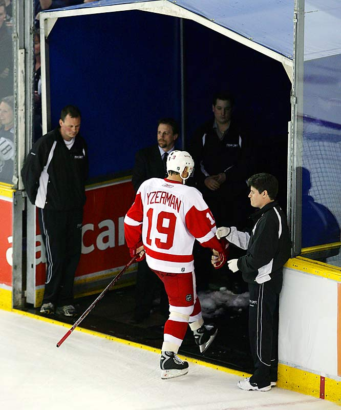 Yzerman left the ice for the final time on May 1, 2006, after the Red Wings were eliminated from the playoffs by Edmonton. He departed as the NHL's longest-serving captain, having posted 692 goals, 1,063 assists, 1,755 points, the Selke Trophy (in 2000) as top defensive forward, and the assurance of a place in the Hall of Fame as well as the hearts of Detroit's fans forever.