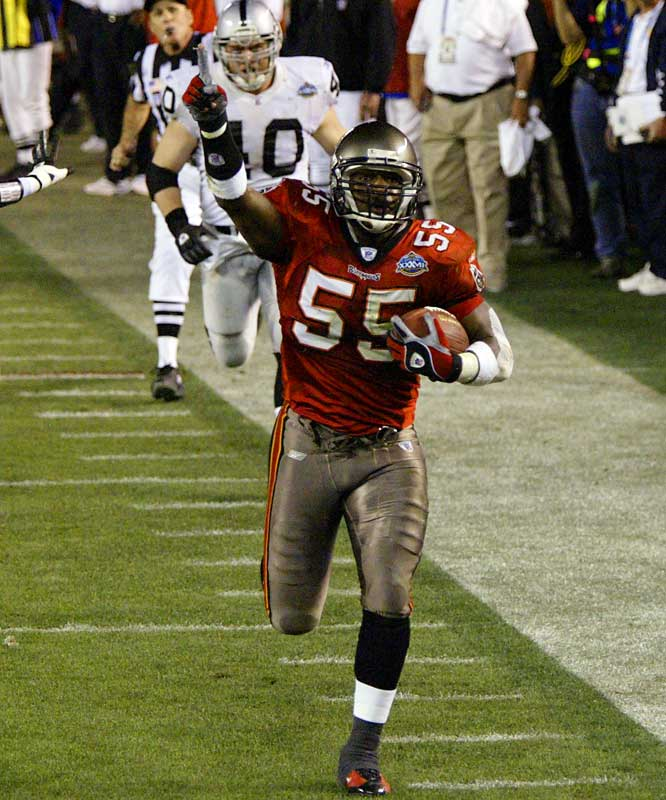 Brooks was the leader of a very strong Bucs defense that led Tampa Bay to a 48-21 win over the Raiders. His 44-yard interception return for a touchdown sealed the victory in Super Bowl XXXVII.