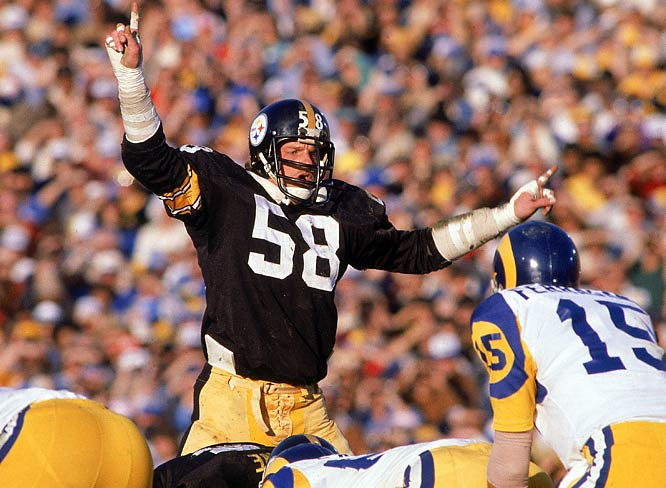 The athletic Lambert redefined the middle-linebacker position in the 1970s and helped the Steelers come out victorious in four trips to the Super Bowl. He had a safety in Super Bowl X and a key interception that helped Pittsburgh hold off the Rams in Super Bowl XIV.