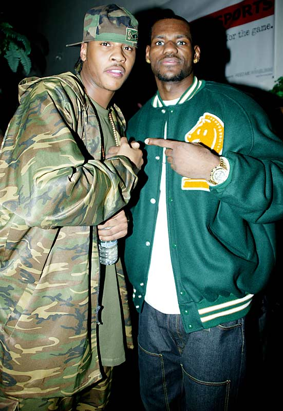 Carmelo Anthony and LeBron James show each other some love during the annual NBA All Star Party in February 2005.