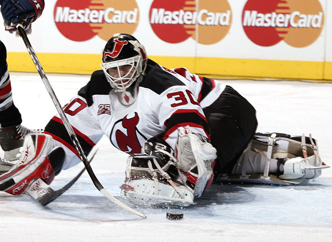 Martin Brodeur's leg isn't quite long enough to kick away the puck during the shootout.