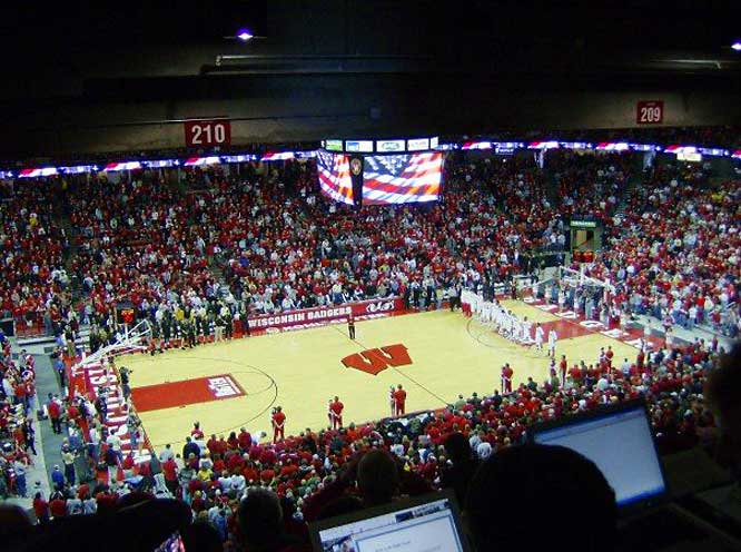 The view from the Kohl Center press box.