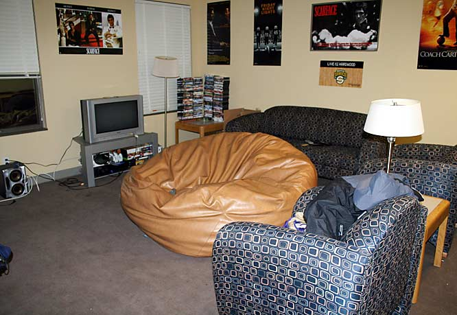 "The living room features lots of seating space, numerous posters of the walls and a healthy collection of DVDs. ""It doesn't have unlimited potential,"" Hawes said. ""It is what you make it."" He went to admit that teammate Hans Gasser has the hangout place. ""Hans has a penthouse: with this big HD- TV, high ceilings, nice couches and everything."""