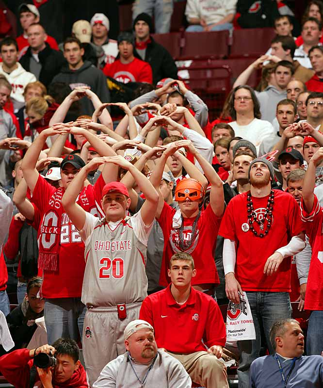 "OSU students make their ""O Face"" during the first half of last Wednesday's victory over Michigan."