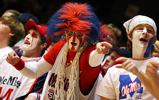 Ole Miss fans cheer during the Rebels 75-69 victory over Alabama on Saturday.