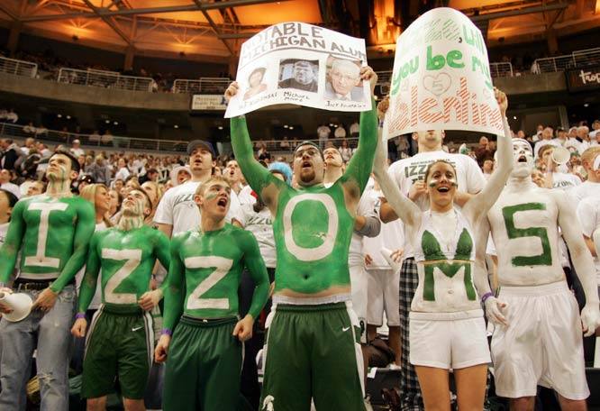 Michigan State fans show their love for Tom Izzo during the Spartans 59-44 victory over Michigan last week.