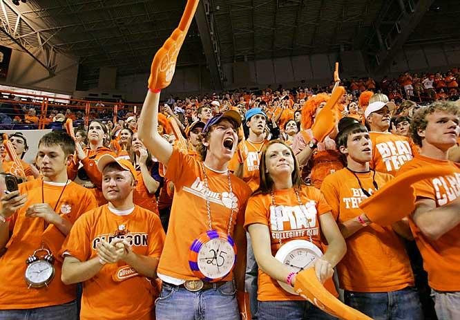 Clemson fans wear clocks around their necks to protest the controversial ending to the team's last meeting. Unfortunately, time was not a factor in the Blue Devils 71-66 victory over the Tigers.