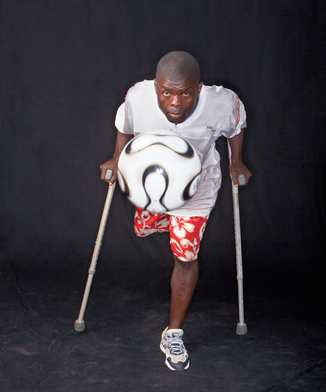 """I struggle on my own, but I want to inspire people when I play."" -- Dennis Parker, 20, president of the Liberian Amputee Sports Association (LASA)."