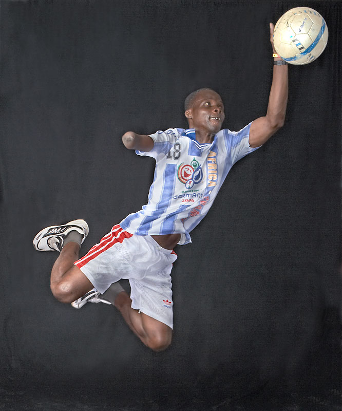 """""""I love football and I want to play my whole life."""" -- Iddisu Fuseini, 34, who was born with one hand and is the senior statesman of the Ghana team."""
