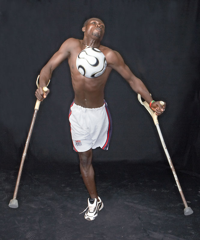 """""""Don't look down on yourself.  You can do anything you determine to do,"""" -- Collins Gyemfi, 24, who lost his leg in a car accident while 15."""