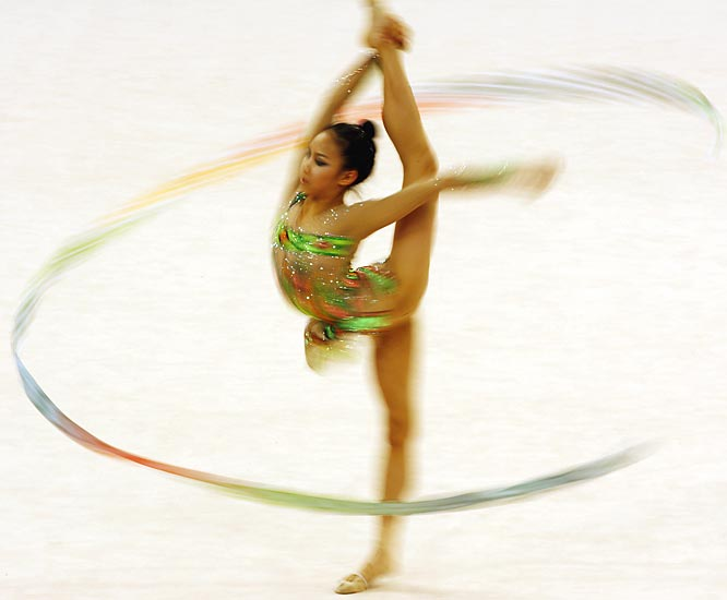 Sin Un Jin  of Korea during the Women's Individual All-Around Final in rhythmic gymnastics.
