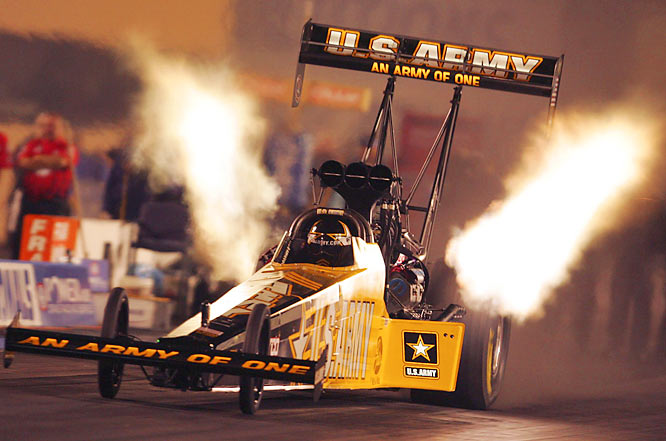 Tony Schumacher has won the past three NHRA Top Fuel championships and four in his career. Schumacher won his 2006 title with the greatest comeback in NHRA history, as he was down 336 points midway through the season. The son of Funny Car legend Don Schumacher, Tony has 35 career wins, tied with Don Garlits for third all-time.