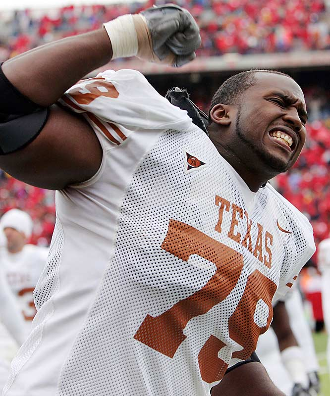 The former high school tight end bulked up 40-plus pounds and became the starter at left tackle for the Longhorns. He earned honorable mention All-Big 12 honors. In his first two seasons he backed up All-American Jonathan Scott.