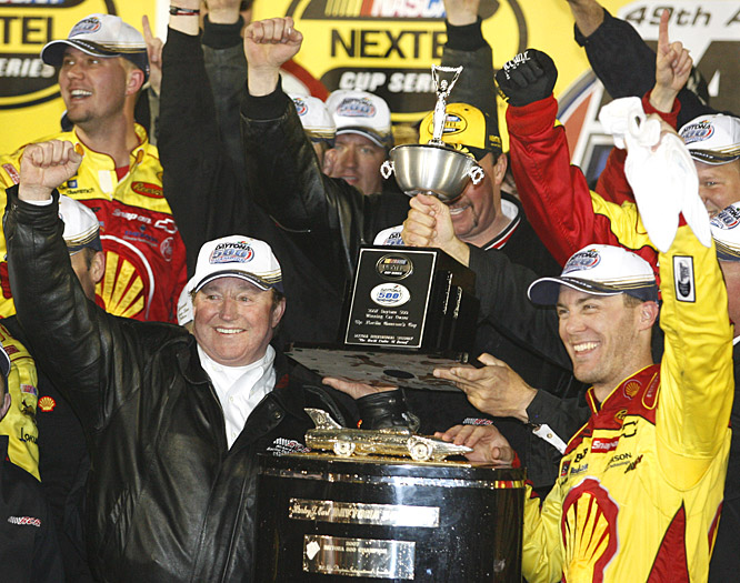Car owner Richard Childress (left) and Kevin Harvick celebrate the driver's first win at the Daytona 500.