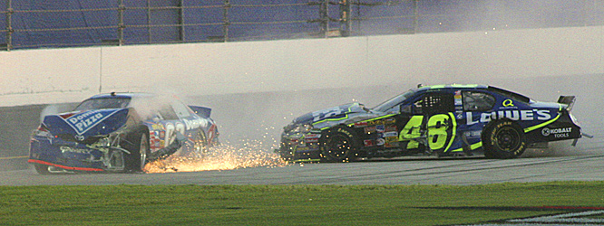 Jimmie Johnson was running well behind the leaders in a large pack of cars on lap 174 when his No. 48 Chevrolet appeared to slide, triggering a multicar crash.