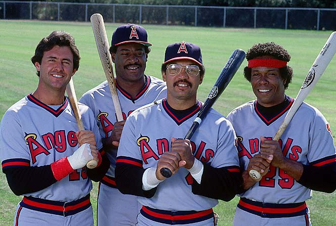 Angels Fred Lynn, Don Baylor, Reggie Jackson and Rod Carew strike a pose.