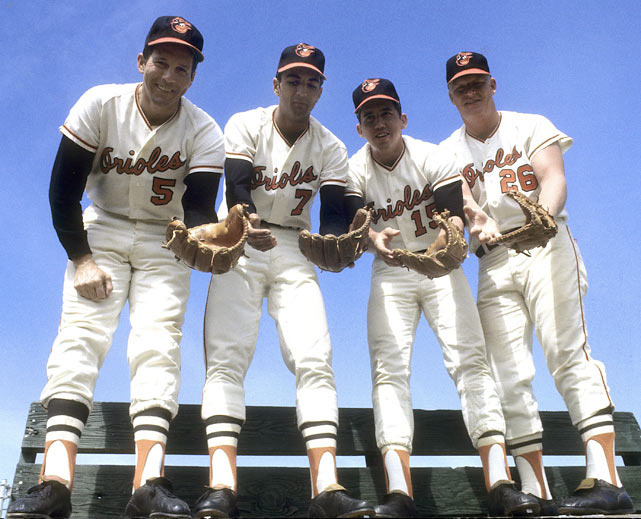 Brooks Robinson, Mark Belange, Davey Johnson and Boog Powell pose at Orioles camp.