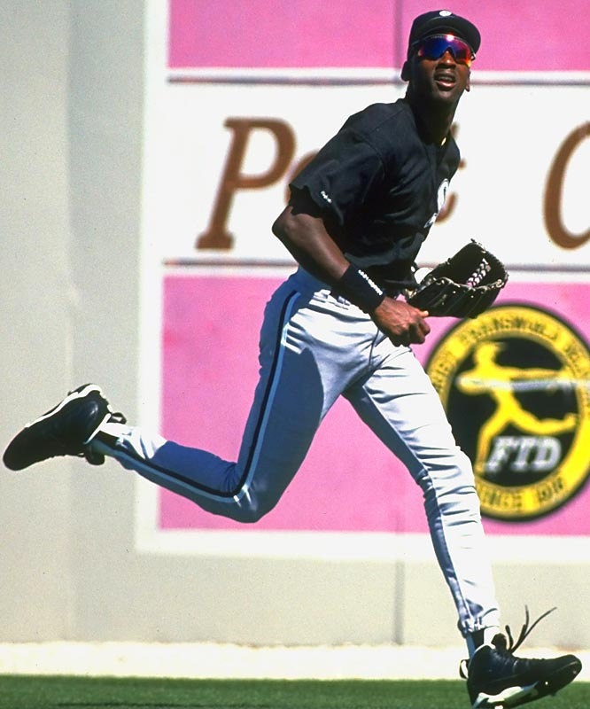 Michael Jordan shags a fly ball during his short-lived  attempt at a baseball career.