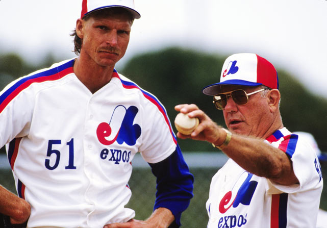 Rookie pitcher Randy Johnson speaks with Expos pitching coach George Bamberger during spring training in West Palm Beach, Fla.