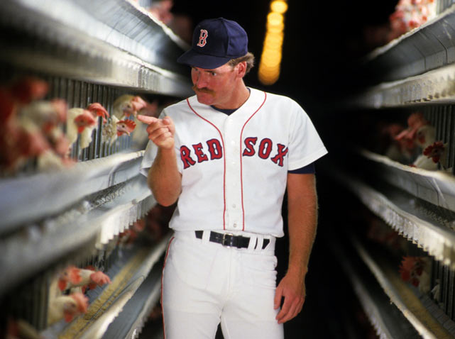 Wade Boggs, who famously ate a chicken meal before every major league game, visits a chicken farm in Winter Haven, Fla.