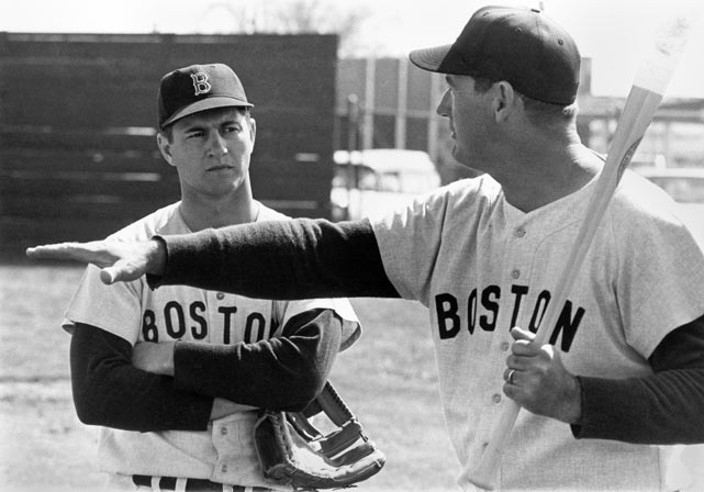 Ted Williams instructs Carl Yastrzemski during a spring training session.