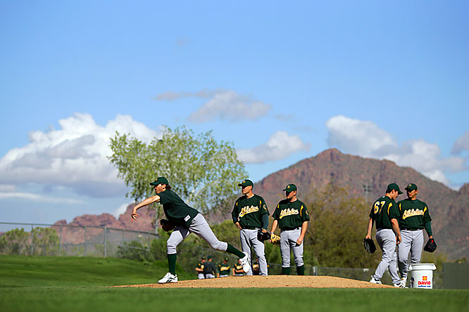 Barry Zito and the A's have a scenic pitching session at their camp in Phoenix.