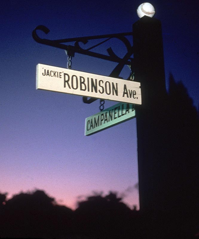 This intersection is named after two all-time team greats, Jackie Robinson and Roy Campanella