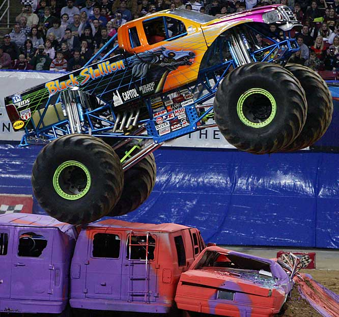 The Edward Jones Dome in St. Louis was the site of a Monster Truck Jam on Feb. 17, consisting of two events: racing and freestyle. <br><br>Black Stallion defeated fan-favorite Grave Digger in the first round.