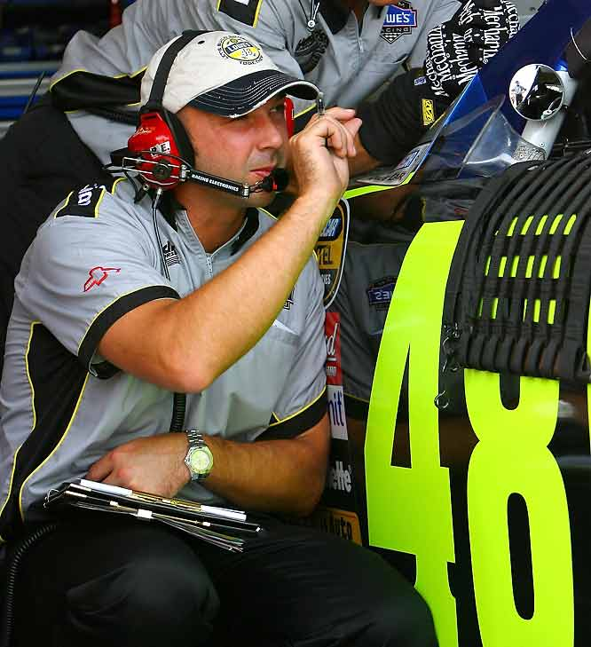 Knaus missed Jimmie Johnson's Victory Lane celebration after the 2006 Daytona 500. That's because crew chief Knaus had been booted out of the Daytona garages earlier in the week when the No. 48 car failed to pass inspection after qualifying. Knaus was suspended for four races, fined $25,000 and spent all of 2006 on probation. Knaus has been penalized eight times by NASCAR in less than five seasons and won appeals two other times.