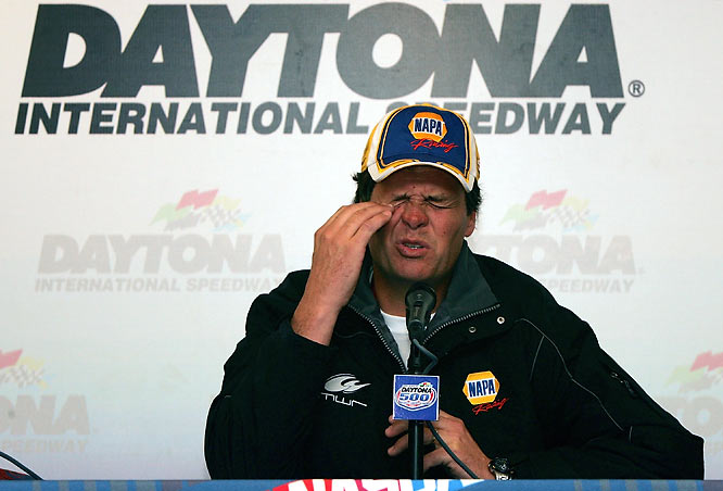 With NASCAR tightening up on the rules and Waltrip racing for the first time for new sugar-daddy Toyota, a member of Waltrip's team spikes the No. 55 car with jet fuel. Oops! Waltrip's team gets hit with a penalty of $100,000 and 100 points plus an indefinite suspension of his team's crew chief and VP of competition.