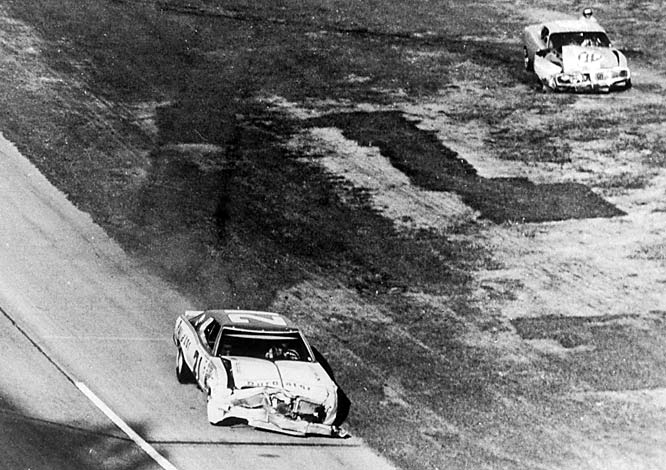 Richard Petty and David Pearson battled for the lead all day at the Daytona 500. As they entered turn 3 on the final lap, Pearson drifted high, and Petty opted to go low. The two cars touched and began to spin. Petty's car stopped less than 100 feet from the finish line, while Pearson managed to limp across for his only Daytona 500 win.