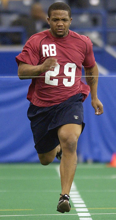 After sitting out a year from college football, Clarett had a lot riding on his performance at the 2005 combine. He ran a 4.82 40 and then a 4.72, which raised many doubts about the Ohio State running back. The Broncos took him in the third round anyway and he is now out of the league.