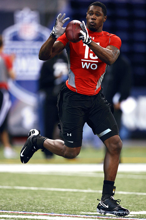 In 2009, Al Davis and the Raiders fell head over heels for athletic wide receiver Darrius-Heyward Bey. Once a fringe first-round pick, Heyward-Bey was selected seventh overall by Oakland after he ran a 4.30 and had an impressive 40-inch vertical at the combine. Heyward-Bey had a breakout year in 2011, catching 64 balls for 975 yards but regressed to 606 receiving yards in 2012.