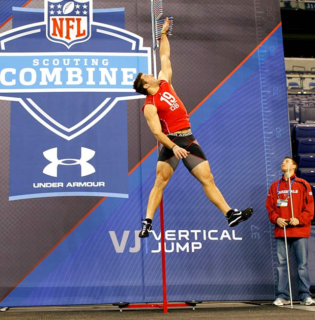 Heading into the 2010 combine, scouts questioned whether Tim Tebow could play quarterback in the NFL. Some suggested he should test as a receiver or halfback at the combine. But Tebow was adamant that he wanted to play quarterback and he turned in a memorable combine performance. His 38-1/2 inch vertical leap tied a QB record and his interviews with teams reportedly were impressive. The Broncos bought into Tebow, selected him with the 25th overall pick, started him at quarterback in Week 15 of his rookie season but later traded him to the Jets. He's now out of football.