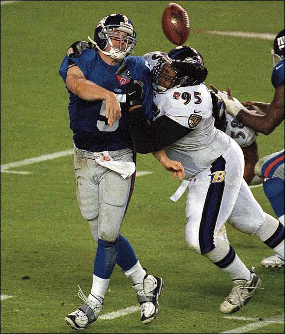 The massive defensive tackle signed with the Ravens in 2000 and immediately helped them forge one of the greatest defenses in NFL history. With Adams taking up multiple blockers up front, the Ravens' linebackers and defensive backs had clean shots at the player with the ball. Adams helped Baltimore win Super Bowl XXXV and was named to the Pro Bowl in '00 and '01.