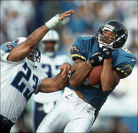 The Jags signed McCardell, who hadn't really blossomed after four years in Cleveland, for $6 million over three years in 1996. McCardell went on to join Jimmy Smith as part of the most consistent receiving duo of the late '90s and first part of this decade. A solid possession receiver, McCardell caught 85 balls or more in four of his six years in Jacksonville.