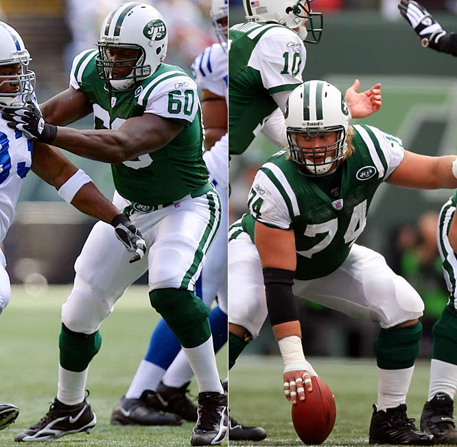 The Jets secured the future of their offensive line by taking left tackle D'Brickashaw Ferguson (60) and center Nick Mangold (74) in the first round. Both started 16 games and showed improvement throughout the year. And New York selected shifty running back Leon Washington in the fourth round, and possibly its QB of the future, Kellen Clemens, in the second round.