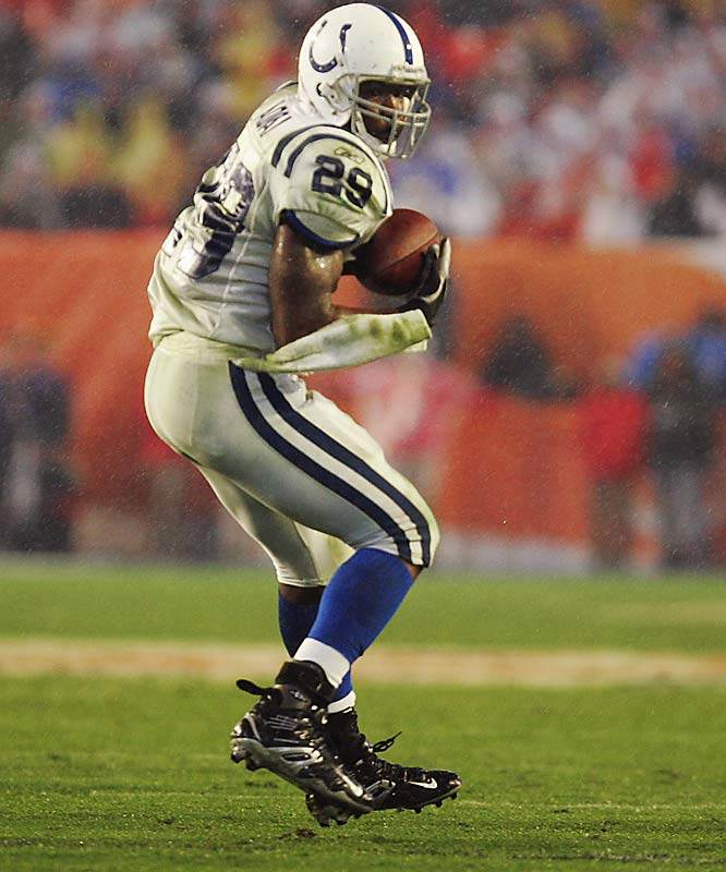 10 ... Joseph Addai's 10 receptions tied the NFL record for most catches by a running back in a Super Bowl game. Tony Nathan of the Dolphins had 10 in Super Bowl XIX.